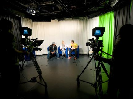 Students using the Film Recording Studio at Highbury Campus