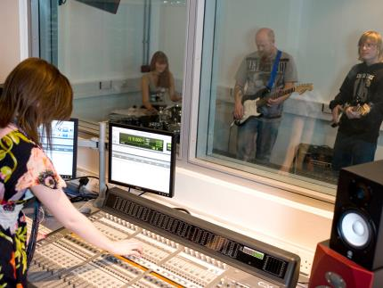 Music Production Students in the studio at Highbury Campus