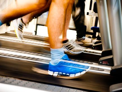 Feet running on the treadmill in the Gym at Highbury's Sports Centre
