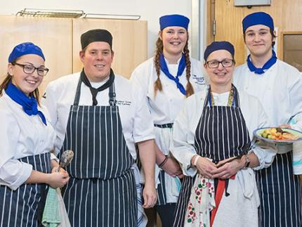 Highbury College's catering students at Hope Hope house kitchen