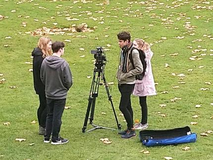 Highbury College media students filming at Mottisfont