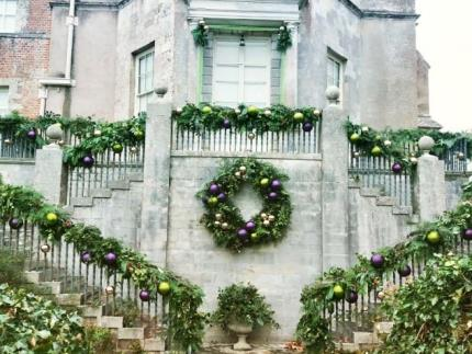Festive display outside Mottisfont, created by Highbury College's floristry students