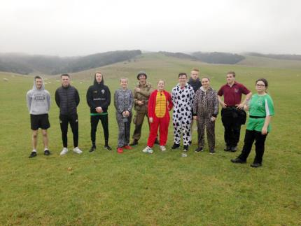Public services students gathered ready for fancy dress run up Butser Hill