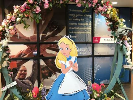 An Alice in Wonderland themed floristry display