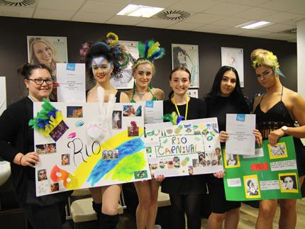 Winners of the Highbury College Level 3 Hairdressing morning competition with their models and certificates