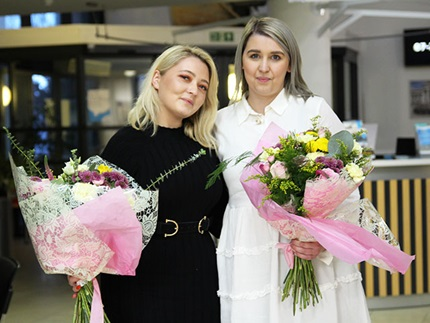 Highbury College Hairdressing and Beauty Therapy Heats judges Lucy Horsman and Jess Davey