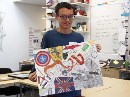 Highbury College My Dog Sighs Art & Design Competition commended entry winner holding their artwork