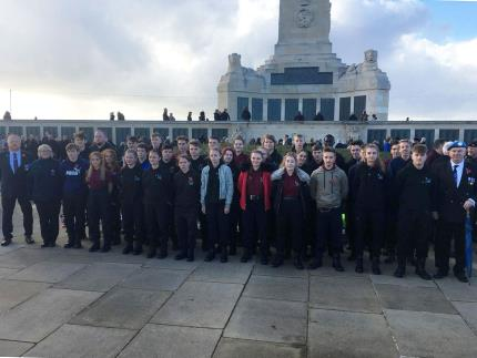 Highbury's Public Service's students and staff at The Portsmouth Naval Memorial