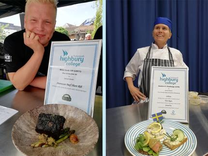 Two pictures of students with a plate of their prepared food for a competition