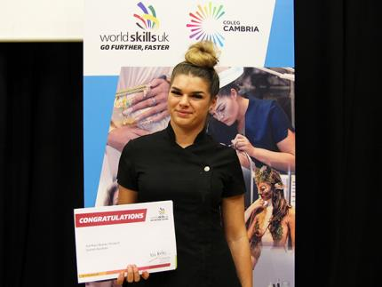 Highbury beauty therapy student Scarlett with her WorldSkills UK certificate
