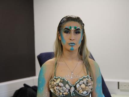 Highbury College beauty student's model's mermaid look during competition heat