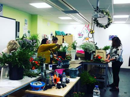 Floristry students preparing arrangements for Portsmouth's mayor-making ceremony
