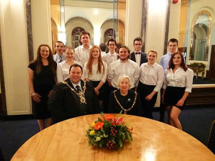 Lord Mayor of Portsmouth Councillor Lee Mason with a catering team at Portsmouth's mayor-making ceremony