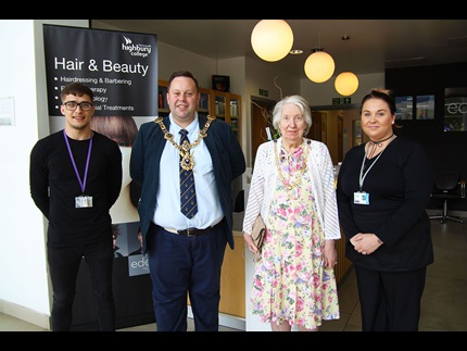 Lord Mayor and Mayoress of Portsmouth alongside their hairdressers