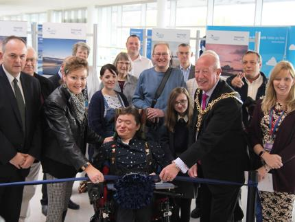 The Lord Mayor of Portsmouth opens Highbury College's photography students' exhibition at Portsmouth International Port