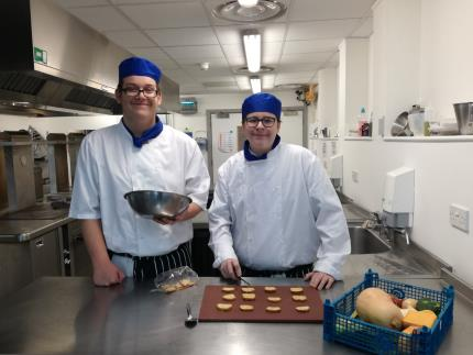 Highbury catering students Leeam Simpson and Harry Cotten who won Hampshire Fare's Great British Biscotti recipe competition
