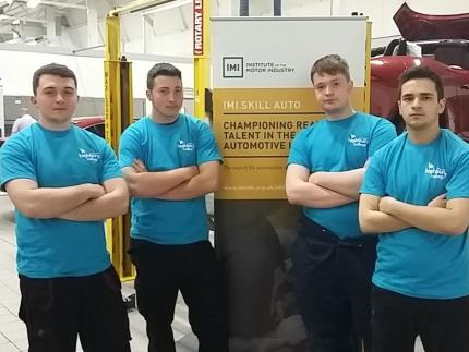 Zac Jiggins, Lewis Blake, Reece Sullivan & Matthew Churchill, Highbury's mechanics at the Automotive competition