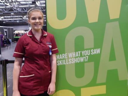 Health and social care student Isobel Fearhead-Clarke competing in the finals of the WorldSkills competition at the Birmingham NEC