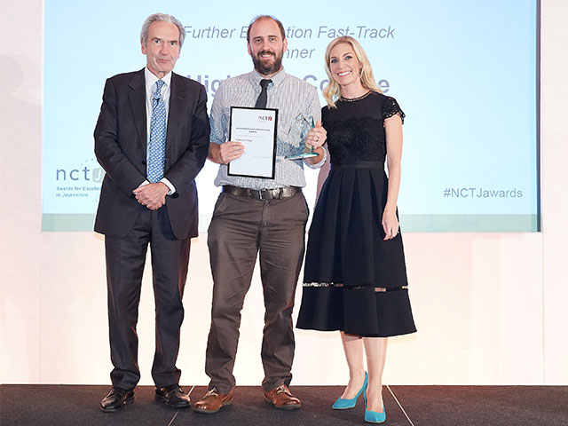 Tutor Paul Foster accepting an award on behalf of the College at the NCTJ Awards 2018