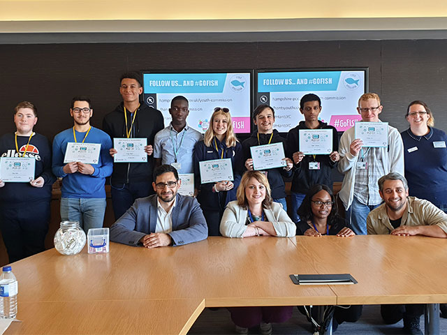 Highbury students with cyber safety certificates in a boardroom