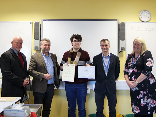 Highbury College student Jack Beaton with his two gold science awards