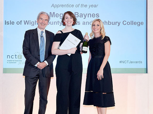 Highbury College journalism apprentice Megan Baynes picking up up NCTJ Apprentice of the Year Award