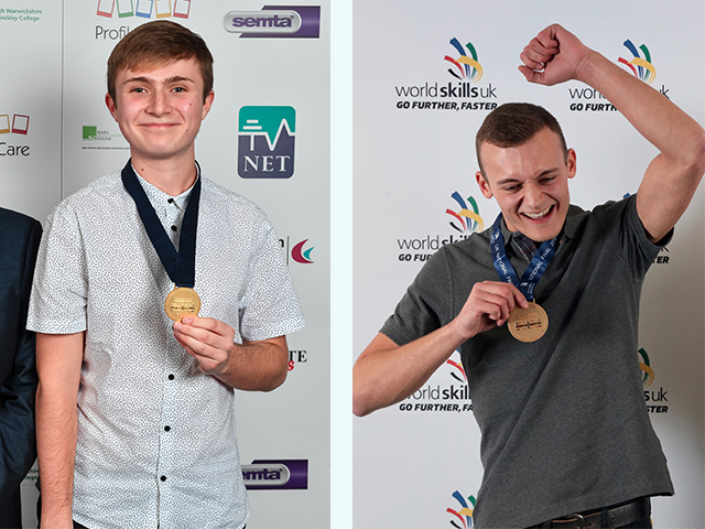 WorldSkills Squad UK and Highbury computing students Lewis Newton and Jack Day