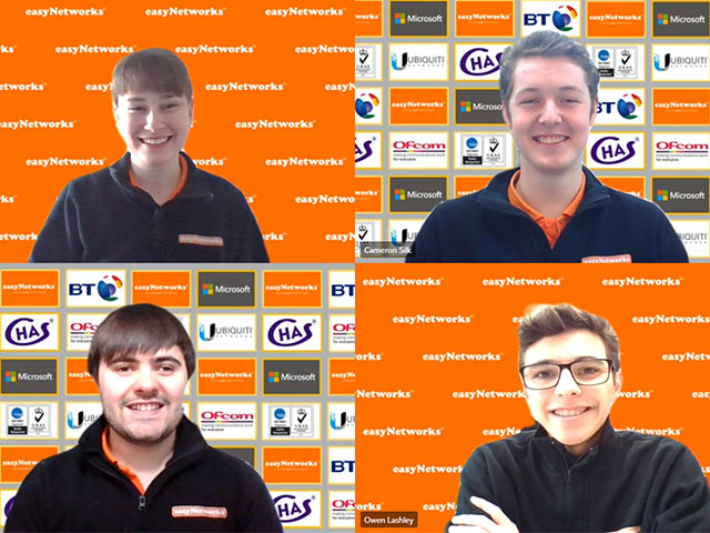 Four of easyNetworks former and current apprentices in a virtual meeting