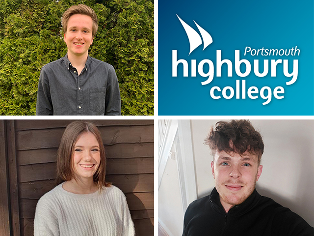 Highbury journalism students Emily, Oliver and Sam profile photos