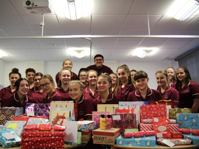 Health and social care students collected presents to give to elderly patients at QA hospital in Portsmouth