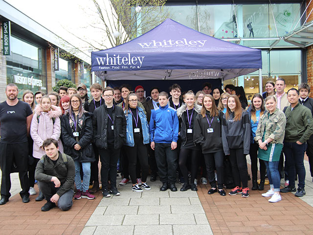 Highbury College students gathered in Whiteley Shopping Centre to start their work experience day