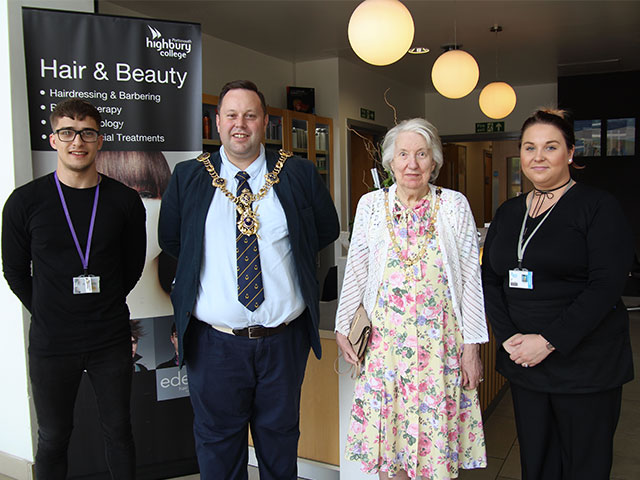 Lord Mayor and Mayoress of Portsmouth alongside their student hairdressers