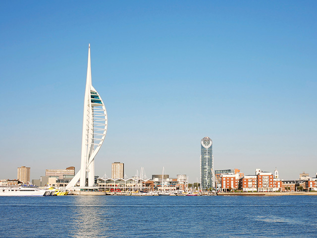View of Gunwharf and the Spinnaker Tower from across the water