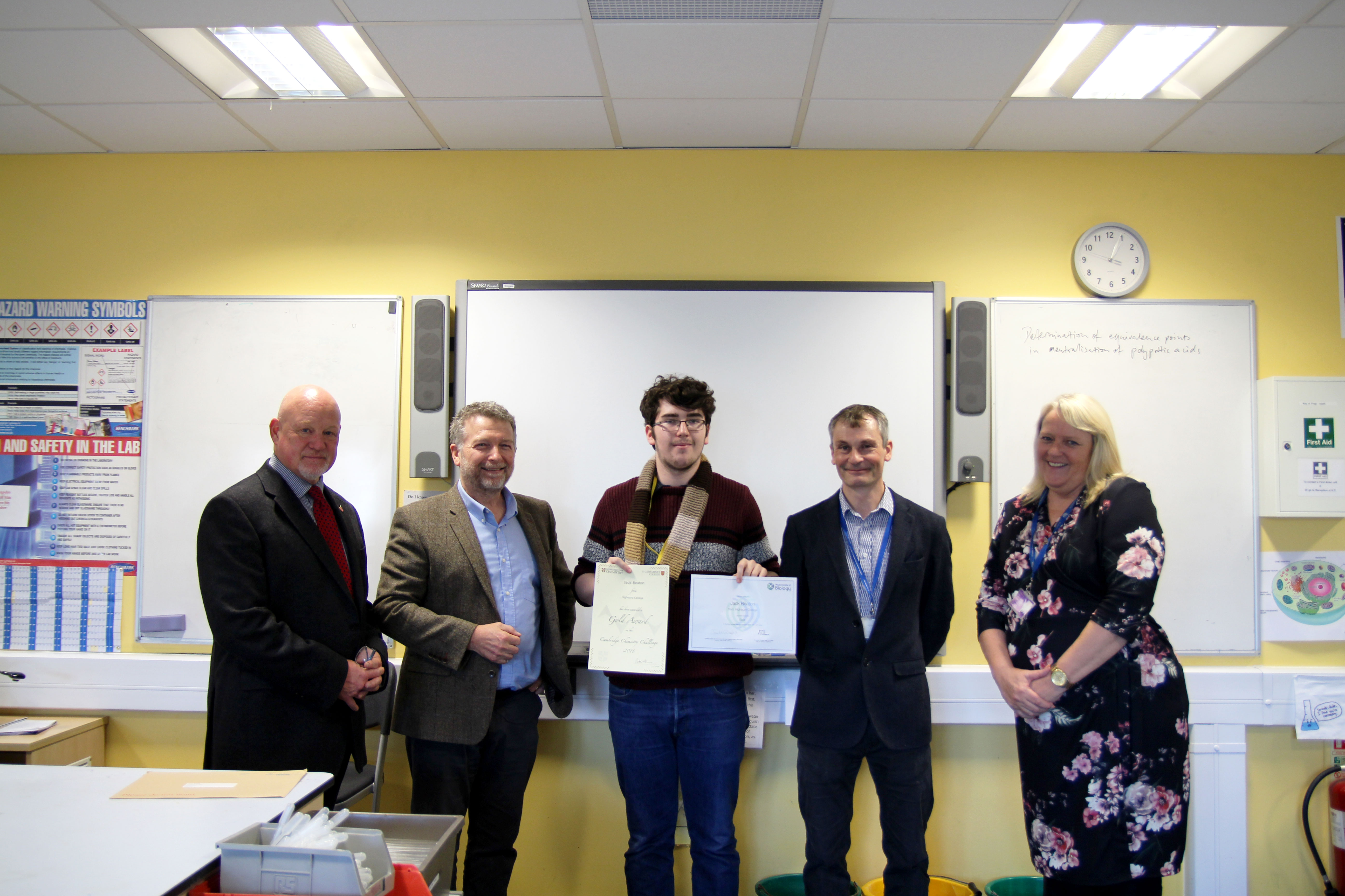 Highbury A Level student Jack Beaton with his two gold science awards