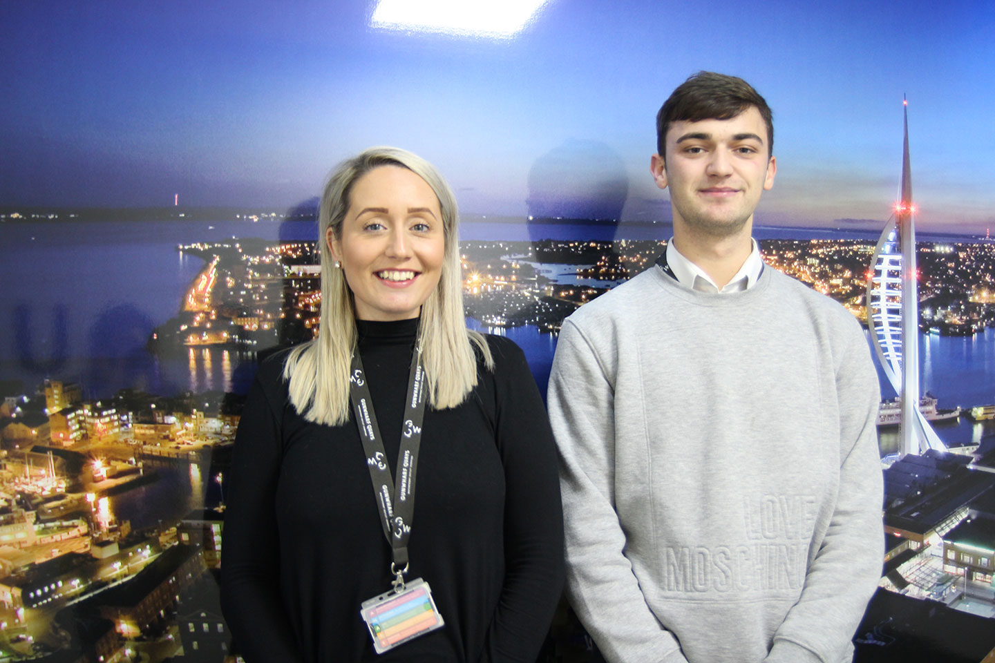 Landsec's Rebekah Reynolds stands next to apprentice Ethan Raleigh