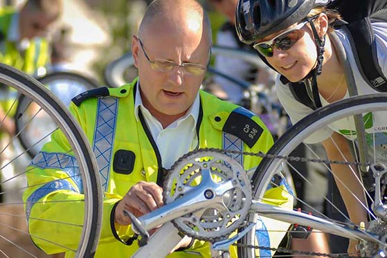 Police marking a bicycle - photo courtesy of Bike Register