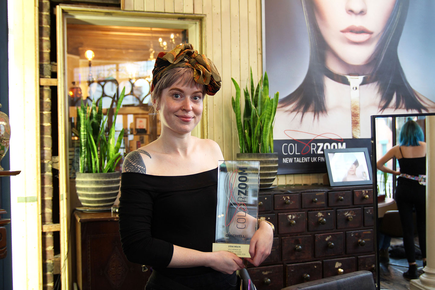 Lydia Wolfe in Tony Wood Hairdressing with her Goldwell Color Zoom Challenge award