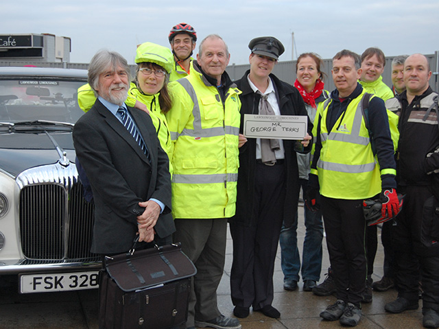 George Terry (middle) with staff from Highbury College and Wightlight following his last commute to Highbury College