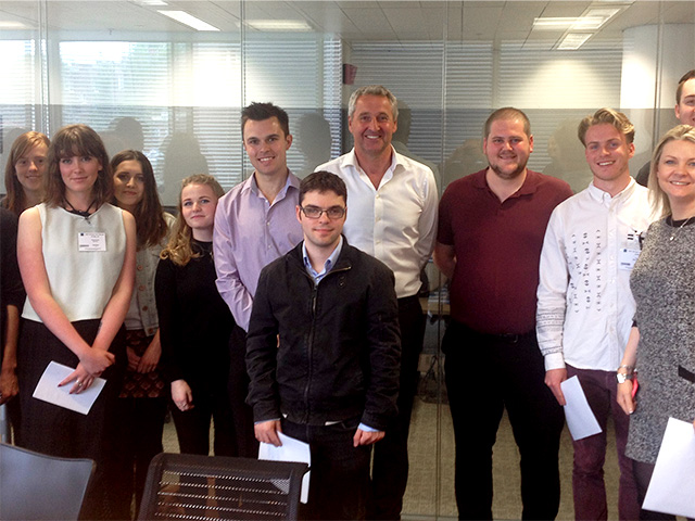 ITV's Mark Austin meets the students from Highbury College, Portsmouth. Far right, ITV Correspondent Emma Murphy